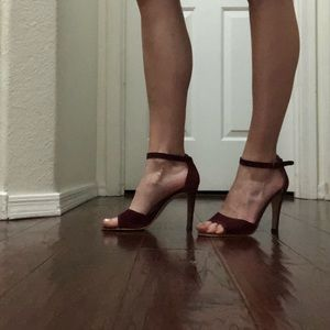 Vtg Italian Leather Suede Maroon Stilettos 7.5B